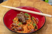 Anzac day dinner. Sous vide kangaroo and lup cheong with bolognese sauce and sweet potato noodles.