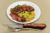 Easter Sunday Dinner. Sous vide porterhouse steak with Easter tri-cheeses Vegemite celeriac mash.
