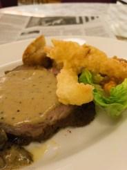 Tuesday dinner. Buffet beef and tempura prawns.