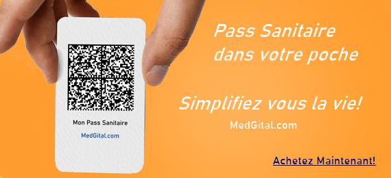Pass Sanitaire format carte de crédit et autocollant MedGital.com MedGital Copyright © 2021 MedGital by KINITAL® for LC RD-Innovation SAS