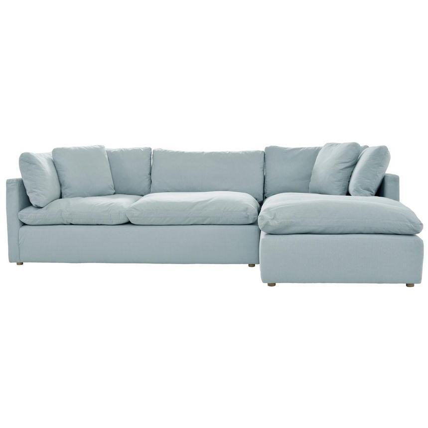 Neapolis Blue Sofa WRight Chaise El Dorado Furniture