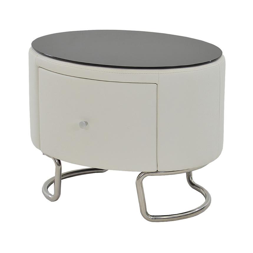 Kolosko White Nightstand WGlass Top El Dorado Furniture