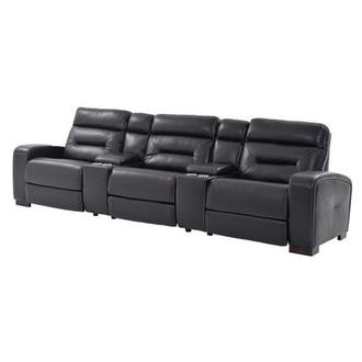 Rochester Black Power Motion Leather Sofa WConsole El