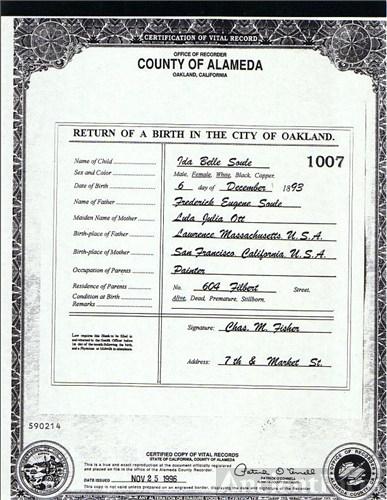 Ida Belle Soule Martin S Birth Certificate Photo