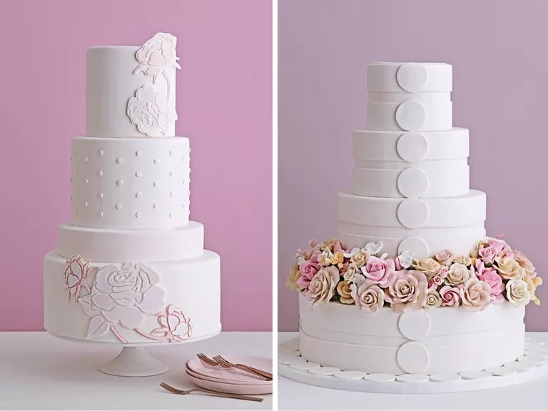 Standout Wedding Cakes  With Serious Fillings  Two wedding cakes with flower details