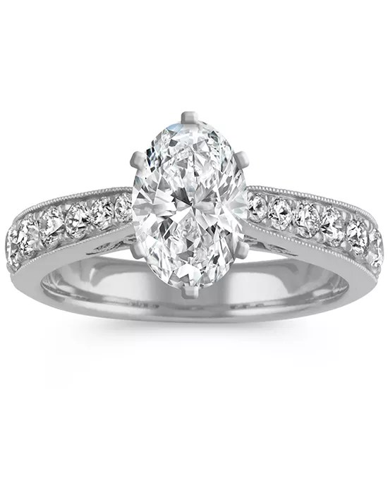 Shane Co Diamond Cathedral Engagement Ring In 14k White