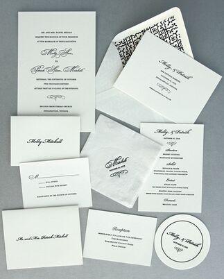 Blush And Gold Letterpress Wedding Invitation