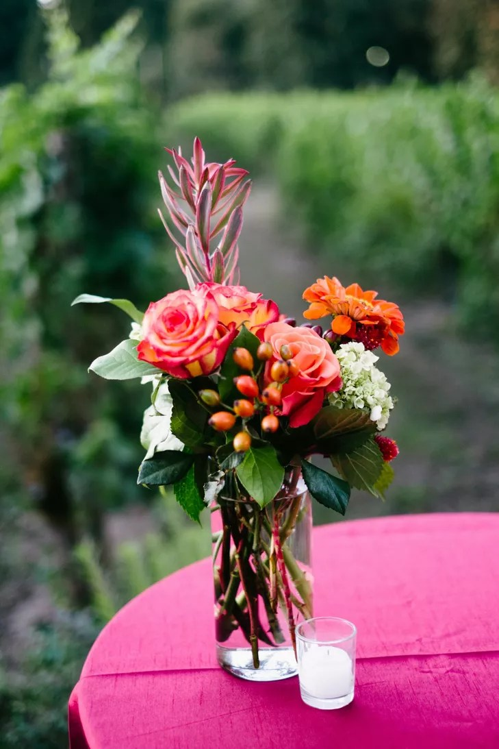 red and orange cocktail hour centerpieces