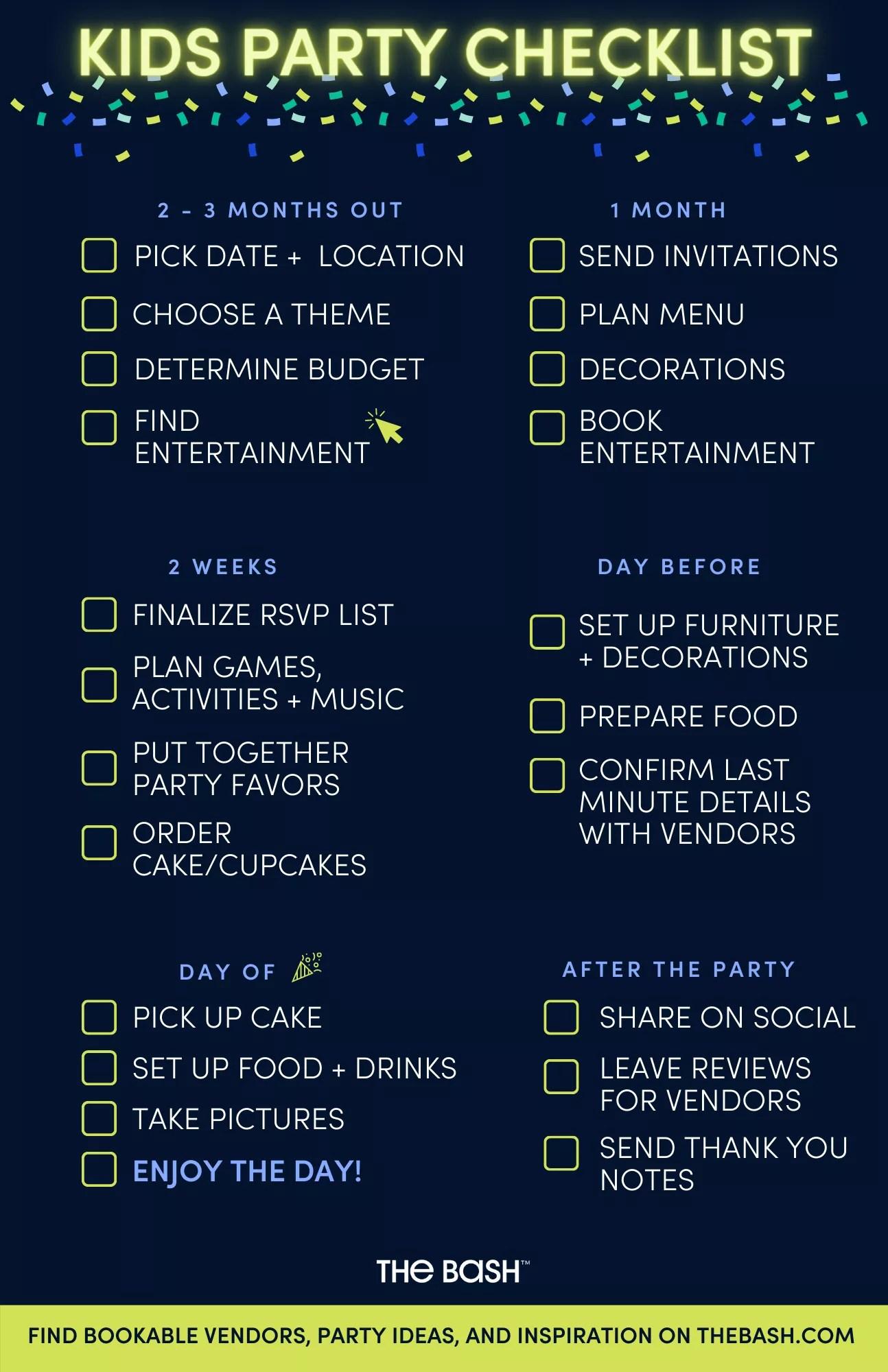 Kids Party Checklist Printable Pdf