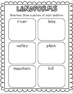 Free Landform Worksheets For 2nd Grade   Nikki Skyler Mfc
