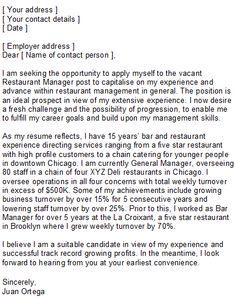 professional resume cover letter sample sample restaurant manager