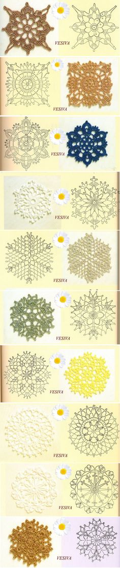 crochet motifs, to join for a big bed cover or to make lacy curtains, or to use alone as coasters, doilies or tree decoration...