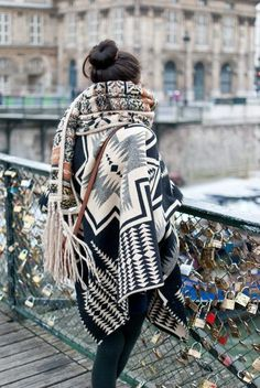aztec print shawl collar wrap cardigan sweater | tribal print large scarf | pont des arts | paris | seine