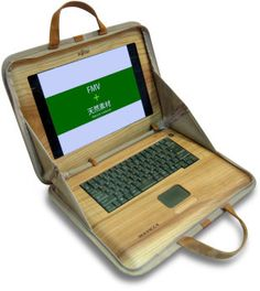 Fujitsu Wooden Laptop - The Ultimate Plastic free office item!