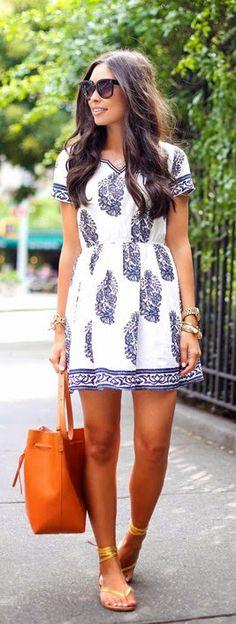 Blue and White Printed Dress <3 <3 <3 @mutefashion