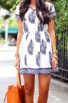 Blue and White Printed Dress <3 <3 <3 @mutefashion