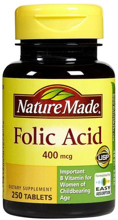 nature made folic acid 400mcg small easy to swallow white pill take once daily i told my