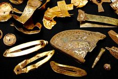 Part of a recently discovered hoard of Anglo-Saxon fifth-century gold is displayed at Birmingham Museum, England. Amateur treasure hunter Terry Herbert made the amazing find on a pal's farm.