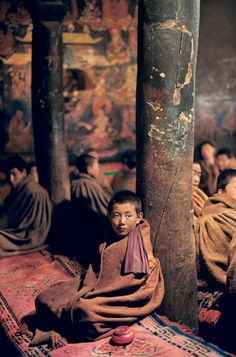 portrait of a young monk in a Buddhist monastery