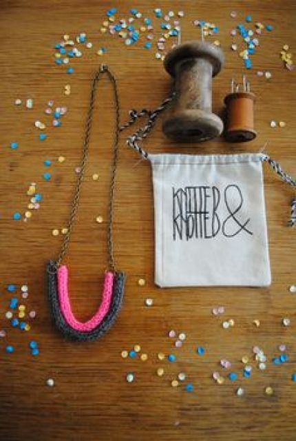 Simple French Knitted Necklace.