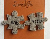 Me + You Jigsaw-Puzzle-Piece Felt Pins