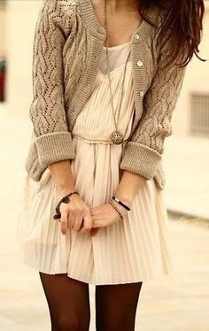 Stylish cardigan, dress and leggings for fall