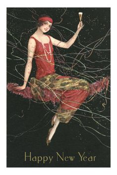 Happy New Year, Flapper with Champagne ❤❦♪♫