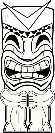 tiki mask coloring page totem pole coloring pages free