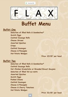 FlAX BUFFET MENU