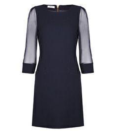 Fleur B. Oxford Shift Dress Black  Long sheer sleeves