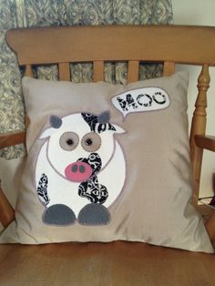 Handcrafted Cow cushion 'Bella The Moo Cow' by Rachelrookedesigns, £30.00