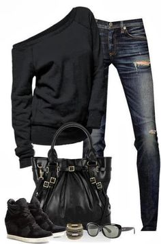 2014 fashions for women:Black sweater, jeans, black bag, glasses and shoes for ladies
