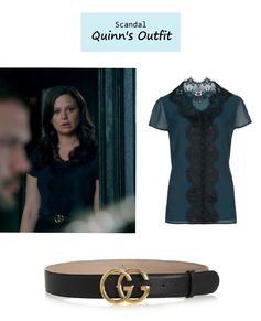 "On the blog: Quinn Perkins' (Katie Lowes) lace trimmed blouse and logo leather belt | Scandal - ""Icarus"" (Ep. 306) #tvstyle #tvfashion #outfits #fashion #gladiators"