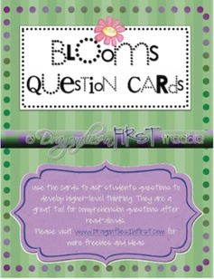 These question card FREEBIES are based upon Bloom's Taxonomy. Use them to promote higher-level thinking during lessons and after read-alouds. Color...
