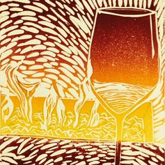 Wine Fire & Friends, 2014 Lino, 5x7 Yolanda Cotton Turner [Red Dot]
