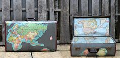 Brilliant Vintage Map Suitcase | Pillar Box Blue - Featured at the #HomeMattersParty 51