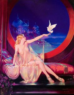 LARGE 20x24 Canvas Sultana HAREM BELLY Dancer Henry Clive Fantasy Lingerie Nude Dove Deco Art Nouveau Glamour Pin-Up - Illustrator Pinup. $144.75, via Etsy.