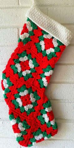 """Best Free Crochet » Red Granny Square Christmas Stocking – Free Crochet Pattern email confirmation required to access free pattern Materials: Worsted Weight Yarn: Red, Green & White. Crochet Hook: Size G-6 (4.25 mm) or size needed to obtain gauge. Gauge: Each granny square measures 4"""" across."""