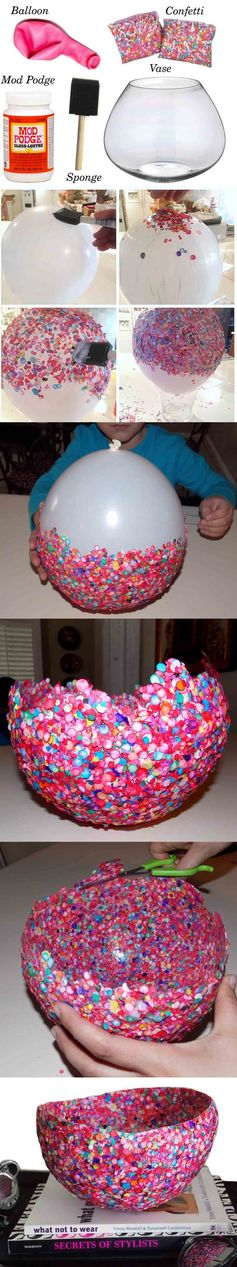 Cool confetti bowl! Finished project makes a colorful conversation piece for a bookshelf or mantel. DIY project, tutorial, fun, art, artwork, design, craft.