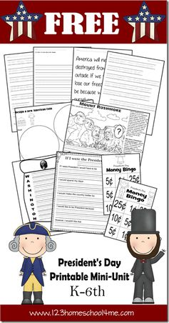 FREE President's day Printable and President's Day Unit Ideas for K-6th grade  #homeschool #freeprintable #presidentsday