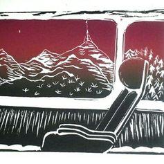 Journey II, 2014 Lino, 5x7 Yolanda Cotton Turner [Red Dot]