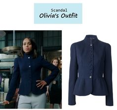 "On the blog: Olivia Pope's (Kerry Washington) navy fitted military jacket with peplum detail | ""Guess Who's Coming to Dinner"" (Ep. 302) #tvfashion #tvstyle #gladiators #falltv #fashion #outfits #fallfashion"