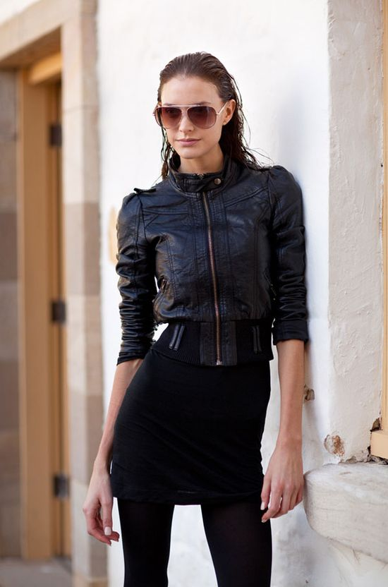 From the slick hair to the fitted leather bomber, this girl is all about the cool factor. #mbfwa #streetstyle #model #leather #mrnewton