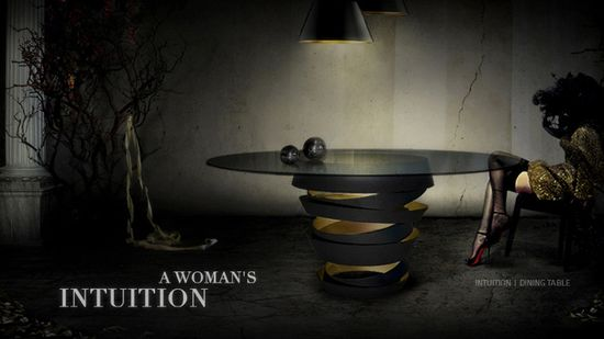 The two tone metal ribbon of the Intuition dining table evokes the mysterious and divine feminine instinct. Carefree & unexpected swirls are guided by emotions and desires. Matt black metal swirl with metallic interior & glass top. Without this, there is nothing.
