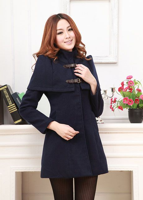 Woman Winter Long Sleeve Navy Blue Long Coat | martofchina.com-Page Cached
