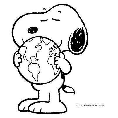 Snoopy hugging the world.