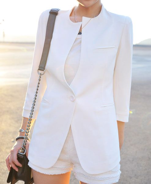 White Three Quarter Length Sleeve Round Neck Chiffon Blazer