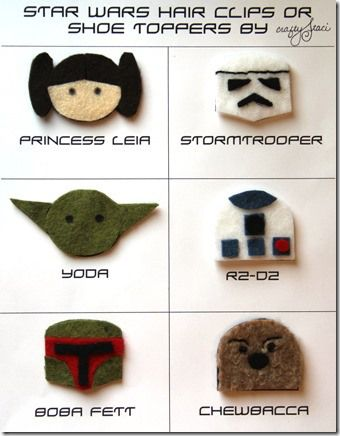 DIY Star Wars Hair Clips or Shoe Toppers by Crafty Staci