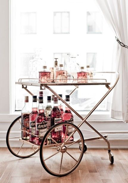 Design Chic - love a brass bar cart!
