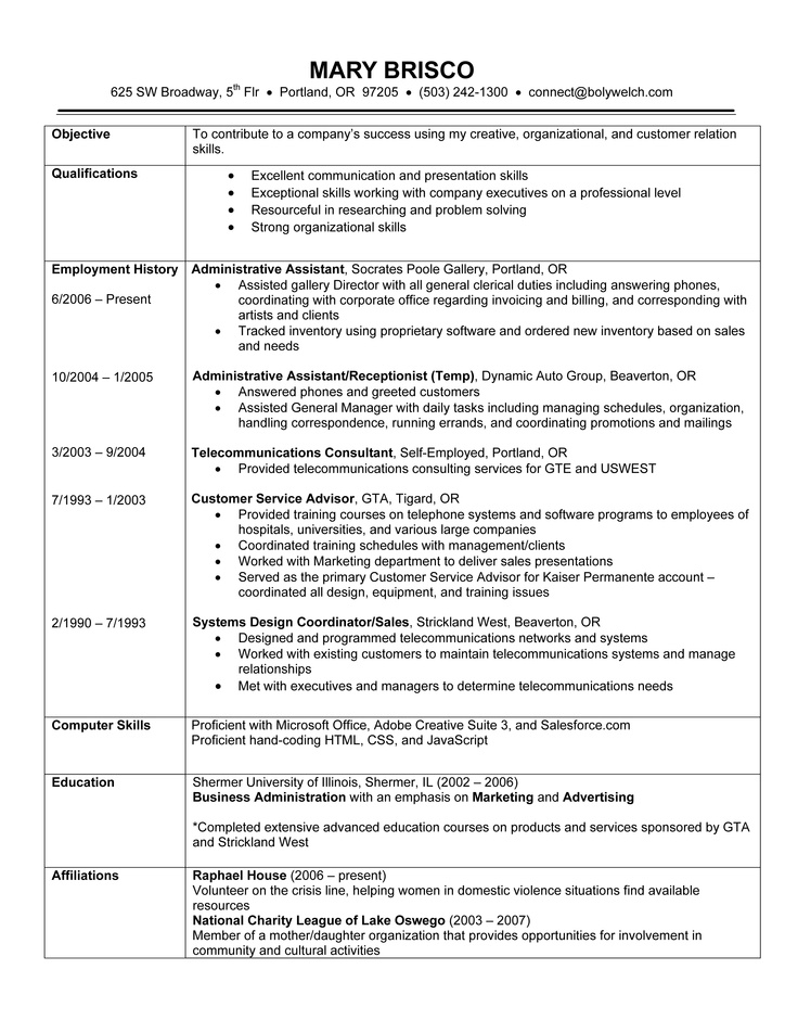 example of current resumes template
